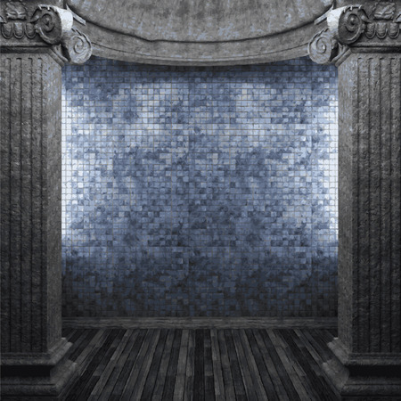 tile wall: vector stone columns and tile wall