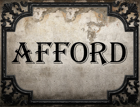 afford: afford word on concrette wall