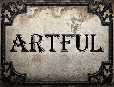 artful: artful word on concrette wall Stock Photo