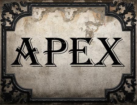 apex: apex word on concrette wall