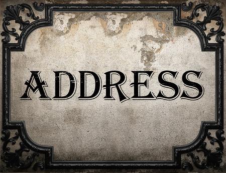address: address word on concrette wall Stock Photo