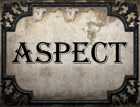 aspect: aspect word on concrette wall