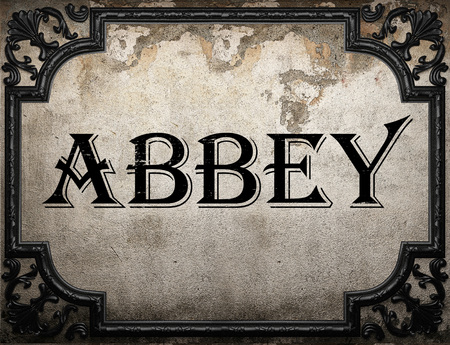 the abbey: abbey word on concrette wall