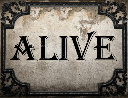alive: alive word on concrette wall