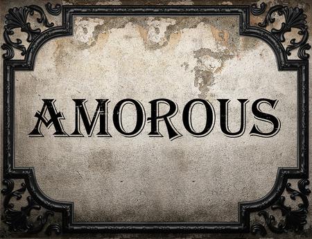 amorous: amorous word on concrette wall Stock Photo