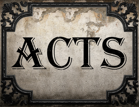 acts: acts word on concrette wall Stock Photo