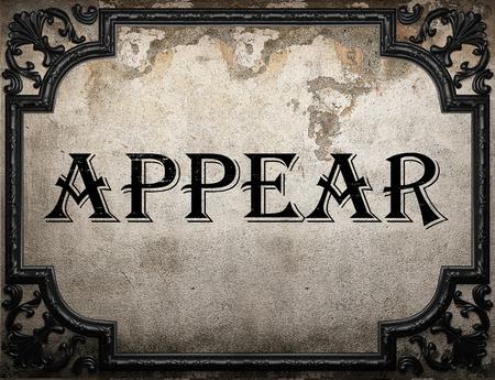 appear: appear word on concrette wall