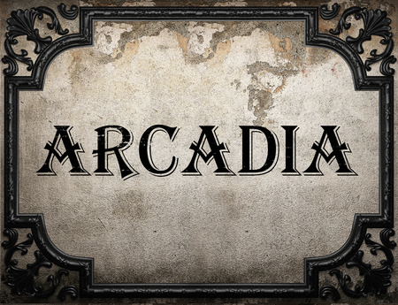 and arcadia: arcadia word on concrette wall