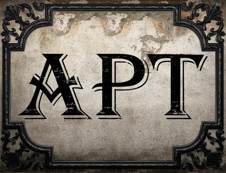 apt: apt word on concrette wall