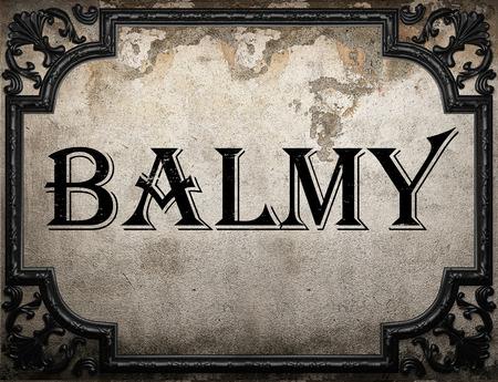 balmy: balmy word on concrette wall