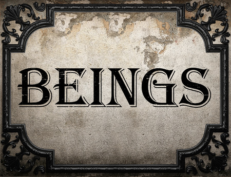 beings: beings word on concrette wall
