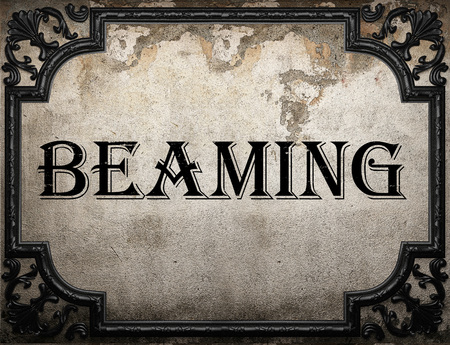 beaming: beaming word on concrette wall