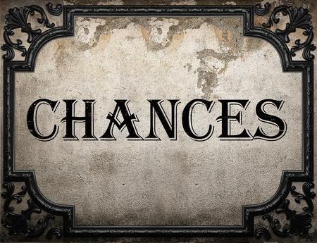chances: chances word on concrette wall