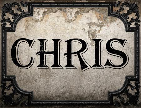 chris: chris word on concrette wall Stock Photo