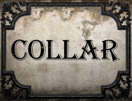 collar: collar word on concrette wall Stock Photo