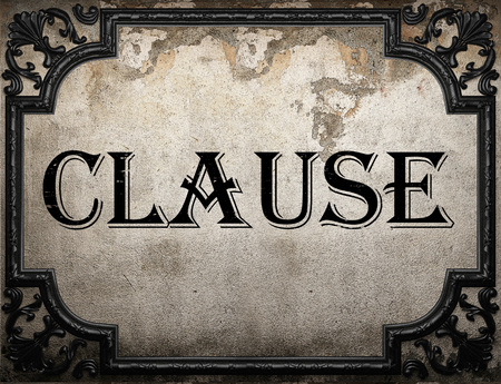 clause: clause word on concrette wall Stock Photo