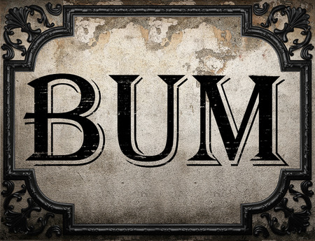 bum: bum word on concrette wall Stock Photo