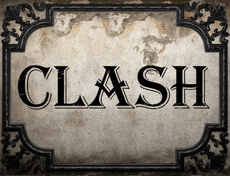 clash: clash word on concrette wall Stock Photo