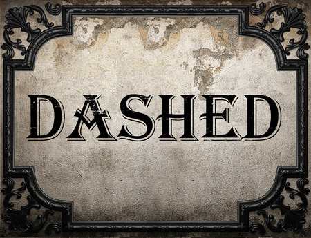 dashed: dashed word on concrette wall Stock Photo