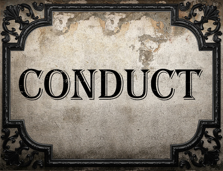conduct: conduct word on concrette wall Stock Photo