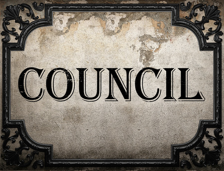 council: council word on concrette wall