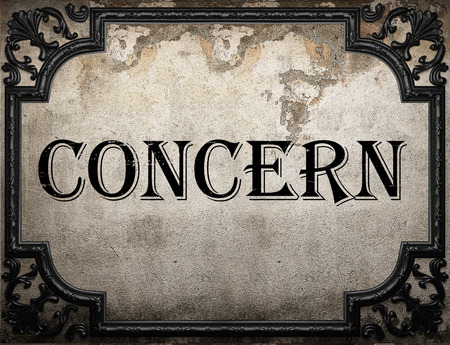 concern: concern word on concrette wall Stock Photo