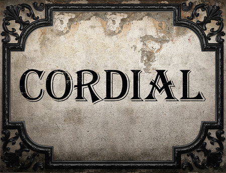 cordial: cordial word on concrette wall