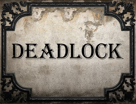 deadlock: deadlock word on concrette wall Stock Photo