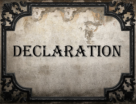 declaration: declaration word on concrette wall