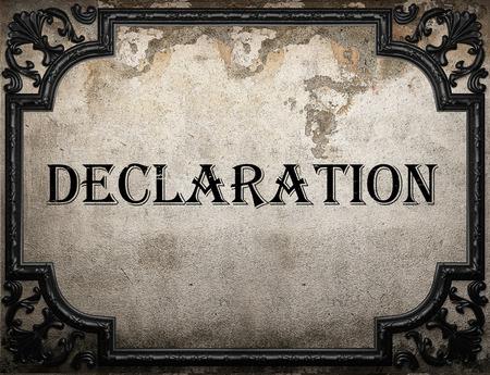declaration: declaration word on concrette wall