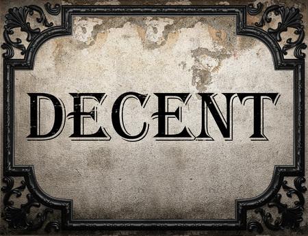 decent: decent word on concrette wall