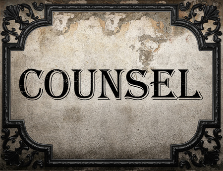 counsel: counsel word on concrette wall Stock Photo
