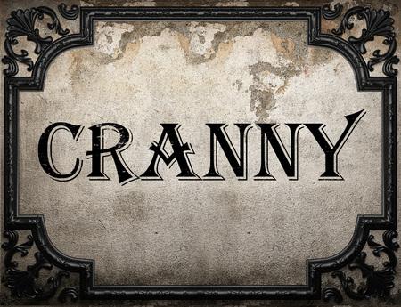 cranny: cranny word on concrette wall