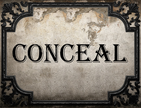 conceal: conceal word on concrette wall