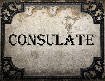 consulate: consulate word on concrette wall Stock Photo