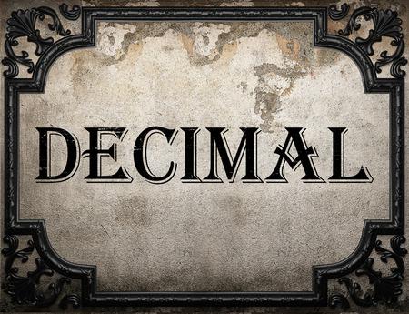 decimal: decimal word on concrette wall