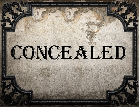 concealed: concealed word on concrette wall