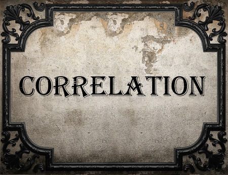 correlation: correlation word on concrette wall Stock Photo