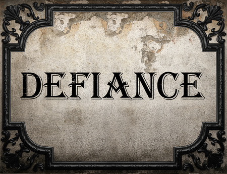 defiance: defiance word on concrette wall Stock Photo
