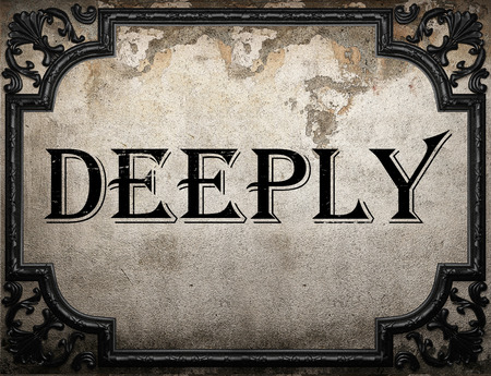 deeply: deeply word on concrette wall