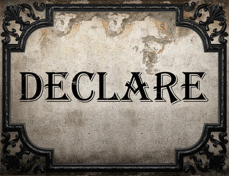 declare: declare word on concrette wall