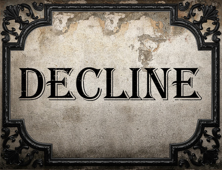 the decline: decline word on concrette wall Stock Photo