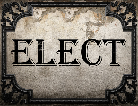 elect: elect word on concrette wall Stock Photo