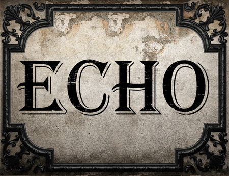 echo: echo word on concrette wall Stock Photo