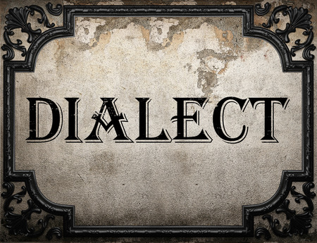 dialect: dialect word on concrette wall Stock Photo
