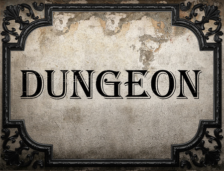 dungeon: dungeon word on concrette wall Stock Photo