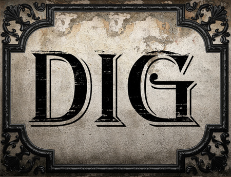 dig: dig word on concrette wall