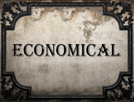 economical: economical word on concrette wall