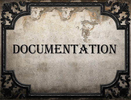 documentation: documentation word on concrette wall