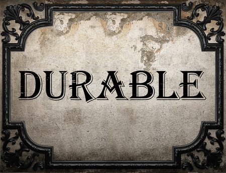 durable: durable word on concrette wall Stock Photo